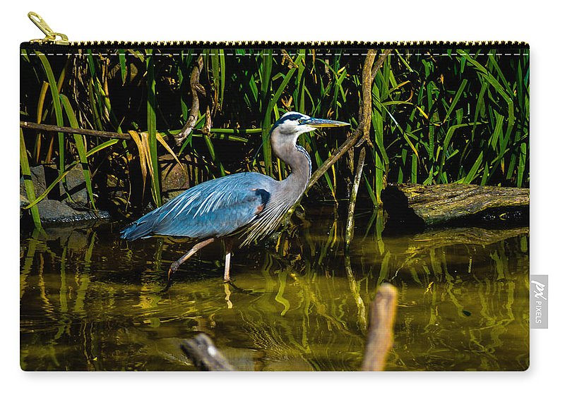 California Carry-all Pouch featuring the photograph California Grey Heron by Tommy Anderson