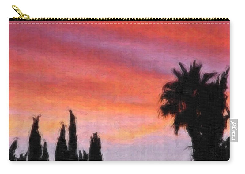 California Carry-all Pouch featuring the painting California Sunset Painting 3 by Teresa Mucha