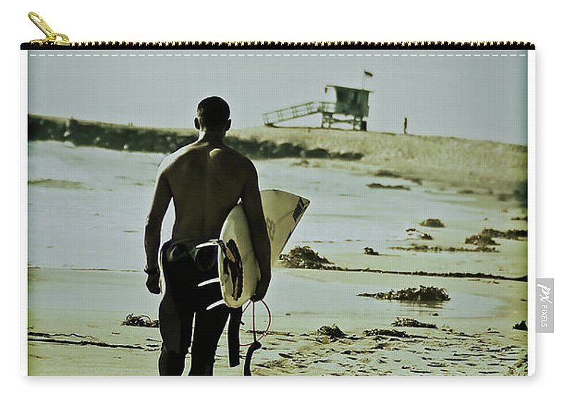 Surfer Carry-all Pouch featuring the photograph California Surfer by Scott Pellegrin