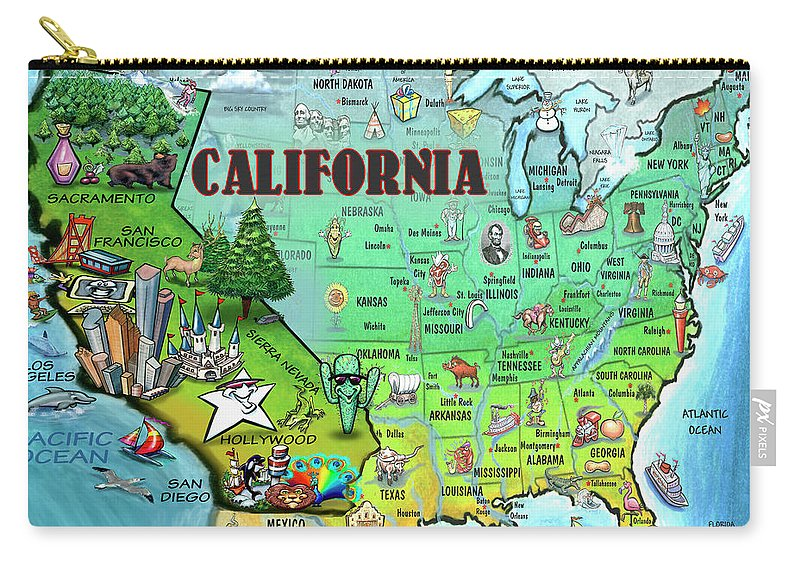 California Carry-all Pouch featuring the digital art California Usa by Kevin Middleton