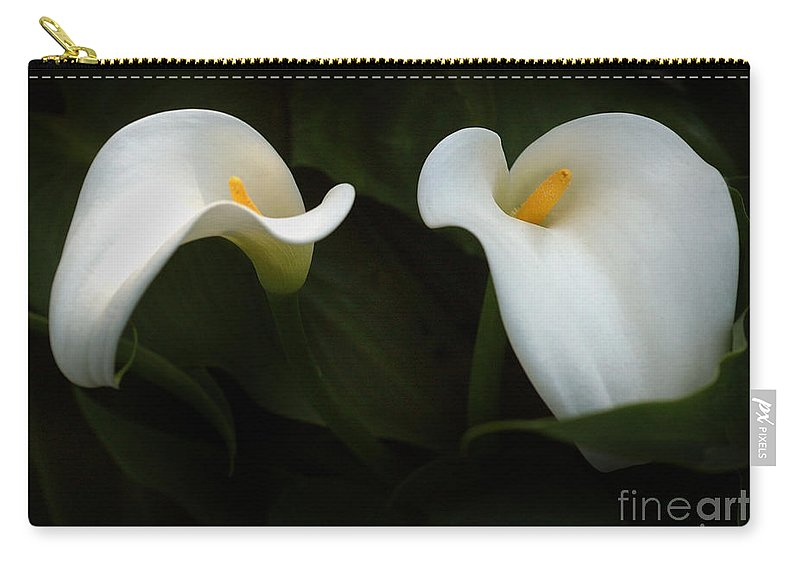 California Scenes. Floral Carry-all Pouch featuring the photograph Calla Duo by Norman Andrus
