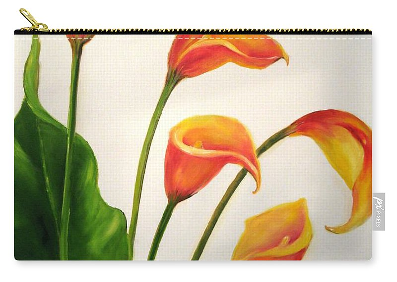 Calla Lilies Carry-all Pouch featuring the painting Calla Lilies by Carol Sweetwood