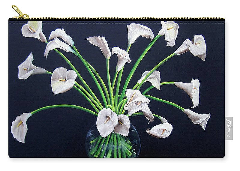 Calla Lilies Carry-all Pouch featuring the painting Calla Lilies by Dominica Alcantara