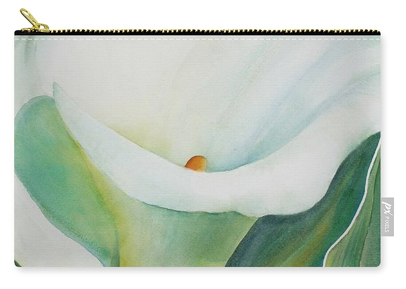 Flower Carry-all Pouch featuring the painting Calla Lily by Ruth Kamenev