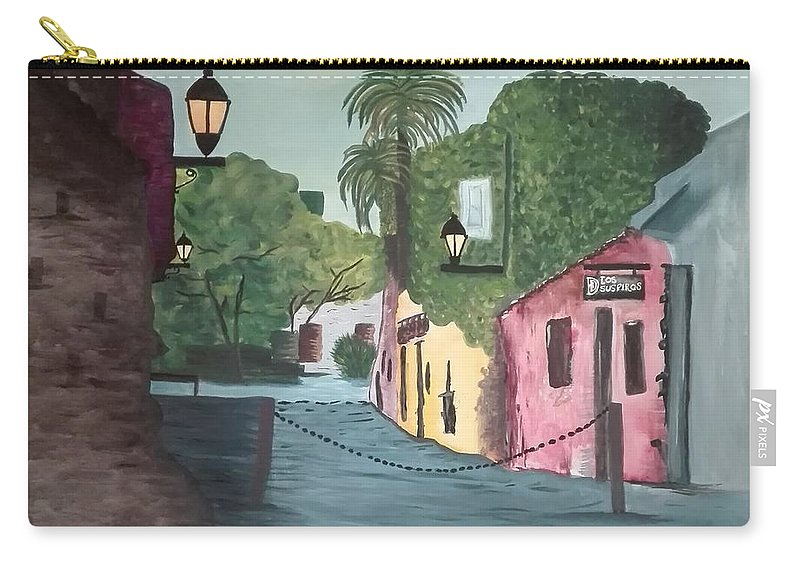 Ciudad Antigua Carry-all Pouch featuring the painting Calle De Los Suspiros, Colonia. Uruguay by Fabiana Haiek