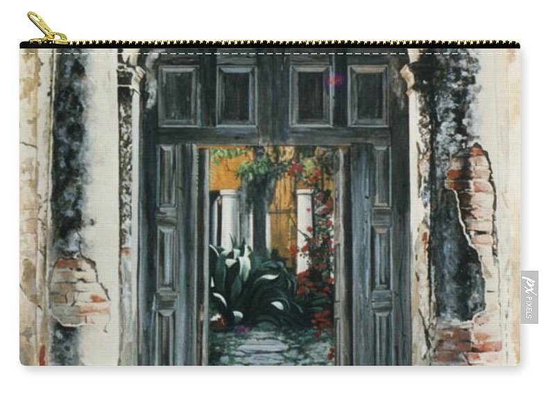 Hyperrealism Carry-all Pouch featuring the painting Calle Tapachula - 2 Doors Open by Michael Earney