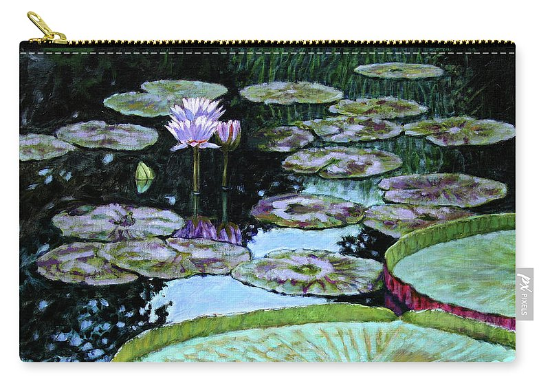Water Lilies Carry-all Pouch featuring the painting Calm Reflections by John Lautermilch