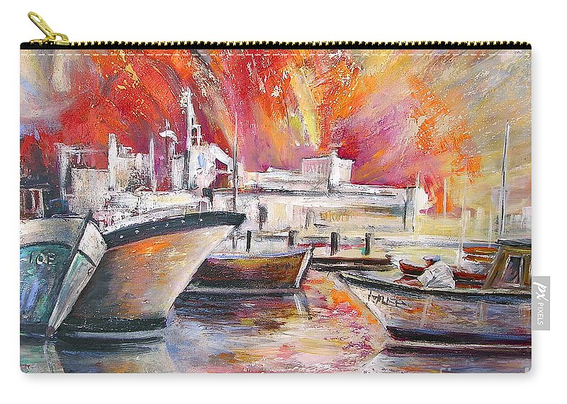 Harbour Painting Spain Seascape Acrylics Carry-all Pouch featuring the painting Calpe Harbour Spain by Miki De Goodaboom