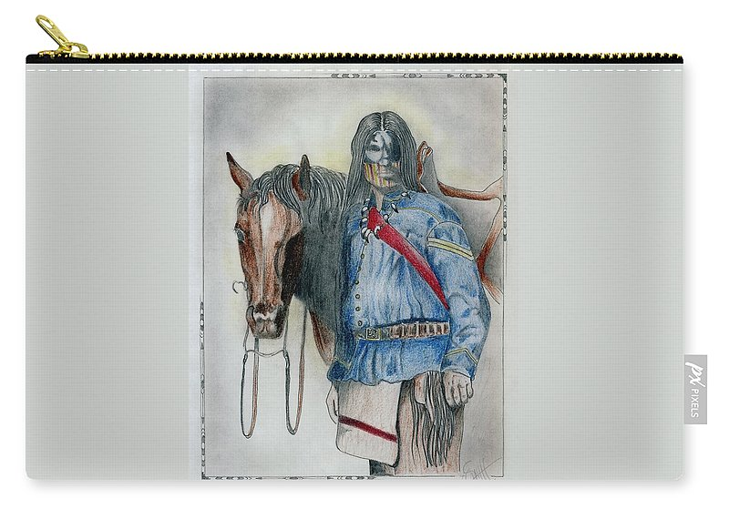 American Carry-all Pouch featuring the drawing Calvary Scout by Jimmy Smith