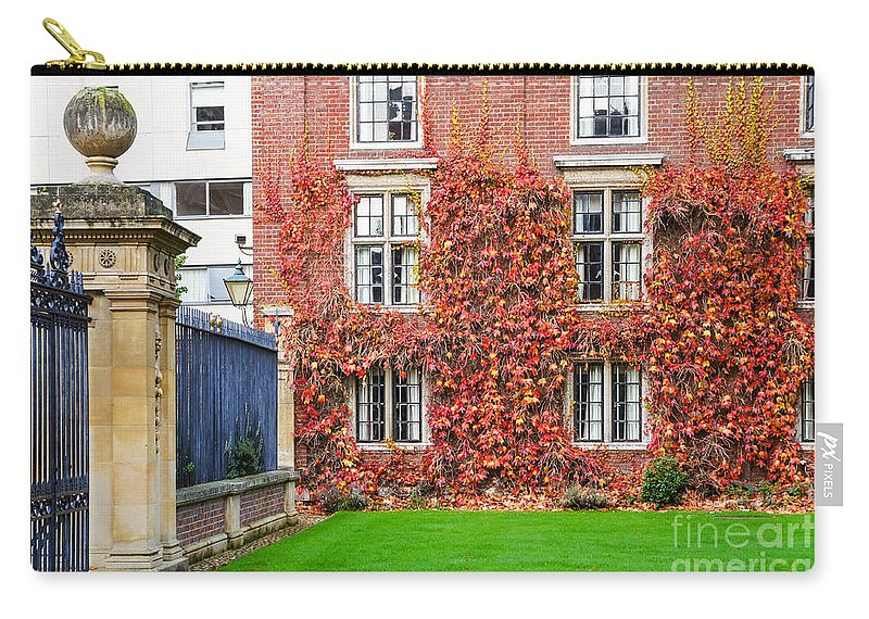 Britain British England English Europe European Ivy Plant Climbing Classic Scene Colors Colours View Architecture Buildings Historic Exterior Old Urban University College Colleges School Campus Education Cambridgeshire Beautiful Travel Tourism Streets Street City Town Destination Sightseeing Cambridge Autumn Fall Red Brick Building Facade Uk Carry-all Pouch featuring the photograph Cambridge 2 by Marcin Rogozinski