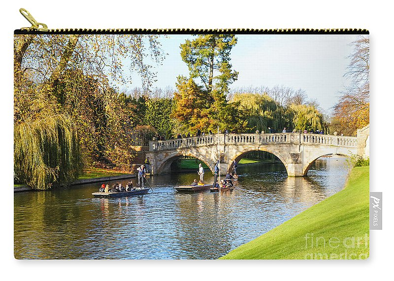 Beautiful Boat Picturesque Cityscape Trip Journey Transport Transportation Historic Old City Town Urban Landmark Landmarks Destination Punter Punters Britain British England English Europe European Clare Bridge Scenery Scene Riverside Riverbank Waterway Colors Colours Canal Boats Punt Punts View Tourists Travel Traveling Tourist People Park Garden Gardens Leisure Relax Outdoors Relaxation Traditional Attraction Sightseeing Iconic Famous Holiday Cambridge Autumn Fall River Cam Punting Tourism Uk Carry-all Pouch featuring the photograph Cambridge 4 by Marcin Rogozinski