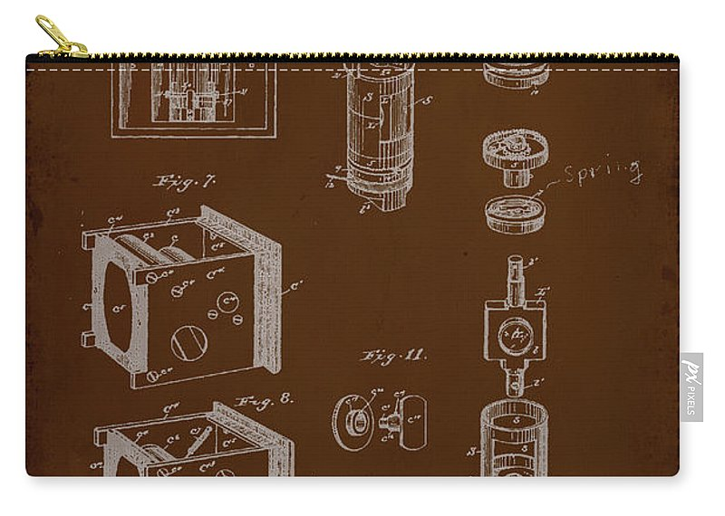 Patent Carry-all Pouch featuring the mixed media Camera Patent Drawing 2e by Brian Reaves