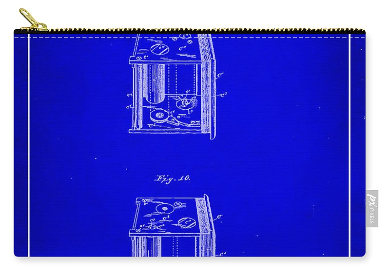 Patent Carry-all Pouch featuring the mixed media Camera Patent Drawing 3a by Brian Reaves