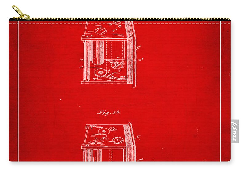 Patent Carry-all Pouch featuring the mixed media Camera Patent Drawing 3b by Brian Reaves