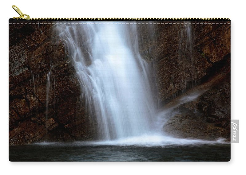 Cameron Falls Carry-all Pouch featuring the digital art Cameron Falls In Waterton Lakes National Park Of Alberta by Mark Duffy