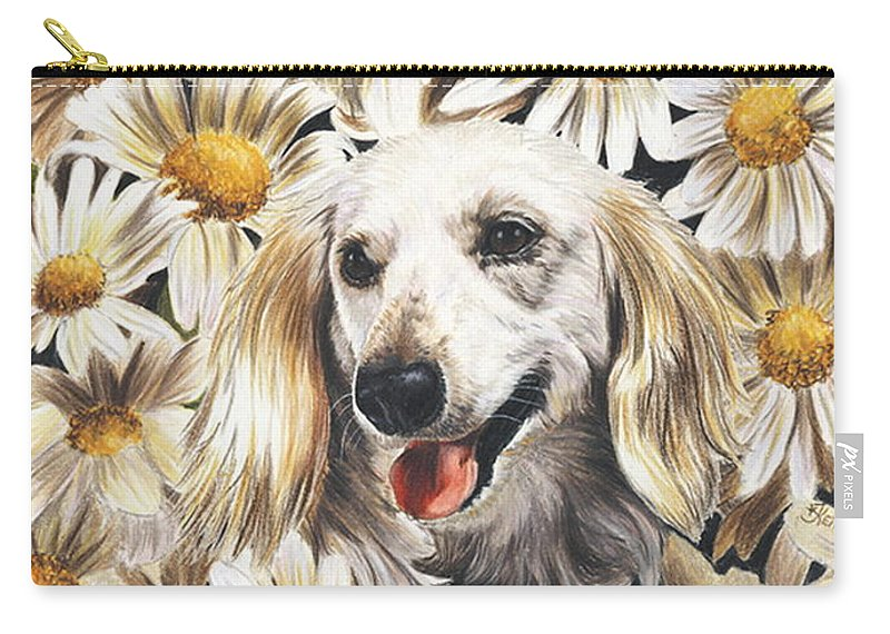 Dachshund Carry-all Pouch featuring the drawing Camoflaged by Barbara Keith