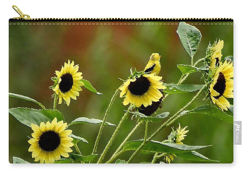 Goldfinch Carry-all Pouch featuring the photograph Camouflaged Perch by Kristin Elmquist