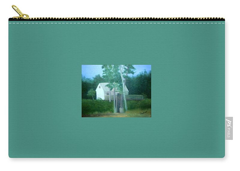 Trees Carry-all Pouch featuring the painting Camp by Sheila Mashaw