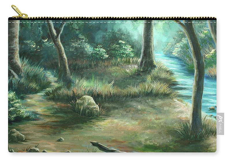 Landscape Carry-all Pouch featuring the painting Camping At Figueroa Mountains by Jennifer McDuffie