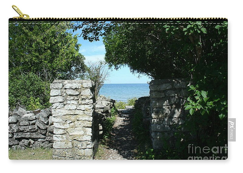 Cana Island Carry-all Pouch featuring the mixed media Cana Island Walkway Wi by Tommy Anderson