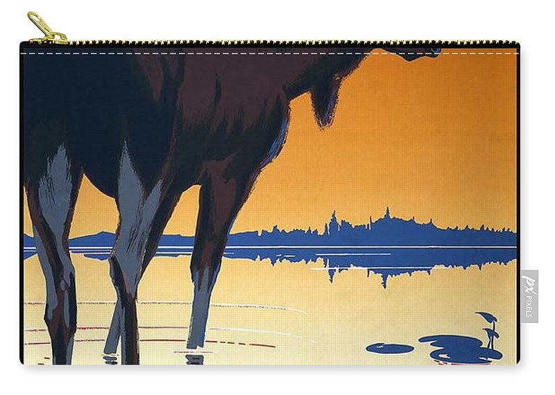 Canadian Pacific Carry-all Pouch featuring the mixed media Canada For Big Game Travel Canadian Pacific - Moose - Retro Travel Poster - Vintage Poster by Studio Grafiikka