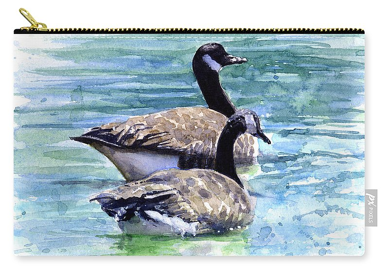 Canada Carry-all Pouch featuring the painting Canada Geese by John D Benson