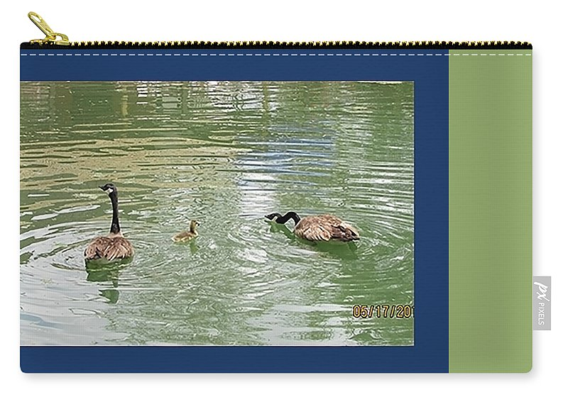 Canada Goose Family Carry-all Pouch featuring the digital art Canada Goose Family Of One Gosling by Kathleen J Beller