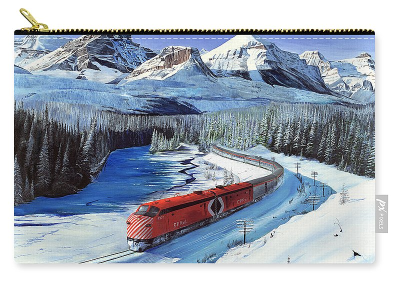 Canadian Pacific Carry-all Pouch featuring the painting Canadian At Morant's Curve by Glen Frear