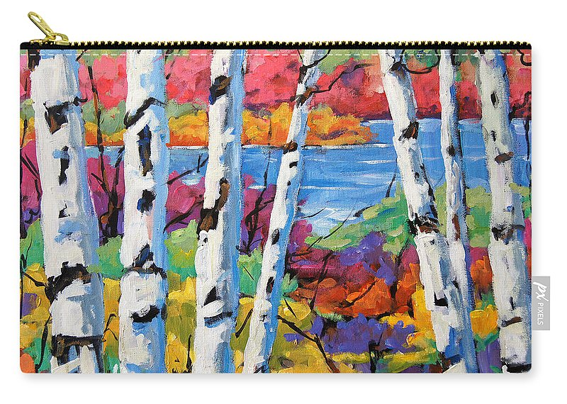 Canadian Landscape Created By Richard T Pranke Carry-all Pouch featuring the painting Canadian Birches By Prankearts by Richard T Pranke