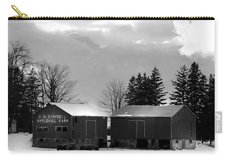 B&w Carry-all Pouch featuring the photograph Canadian Farm by Anthony Jones