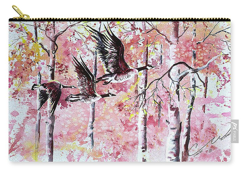 Canadian Geese Carry-all Pouch featuring the painting Canadian Geese In Flight by Connie Williams