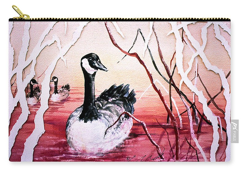 Canadian Geese Carry-all Pouch featuring the painting Canadian Geese Sunset by Connie Williams