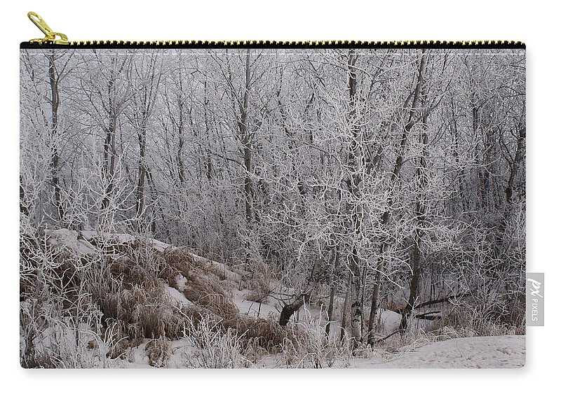 Canadian Ice Fog Carry-all Pouch featuring the photograph Canadian Ice Fog by Joanne Smoley