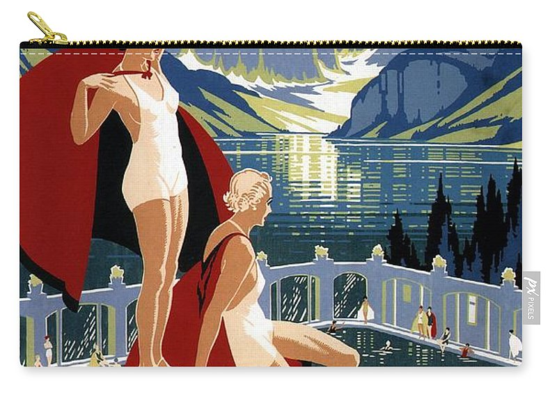 Canadian Pacific Carry-all Pouch featuring the mixed media Canadian Pacific - Chateau Lake Louise - Canadian Rockies - Retro Travel Poster - Vintage Poster by Studio Grafiikka