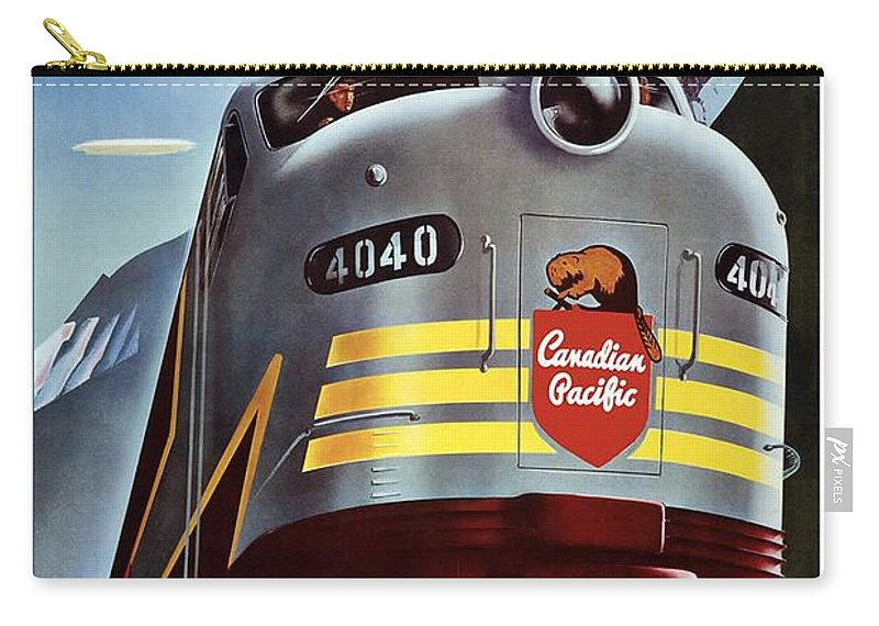 Canadian Pacific Carry-all Pouch featuring the mixed media Canadian Pacific - Railroad Engine, Mountains - Retro Travel Poster - Vintage Poster by Studio Grafiikka