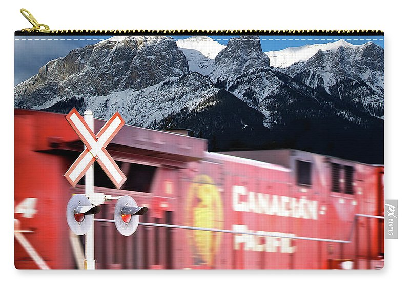 Train Carry-all Pouch featuring the photograph Canadian Pacific Trail Slices Through The Rockies by Lisa Knechtel