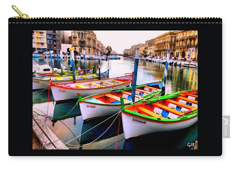 Catholic Carry-all Pouch featuring the digital art Canal Boats On A Canal In Venice L A S by Gert J Rheeders