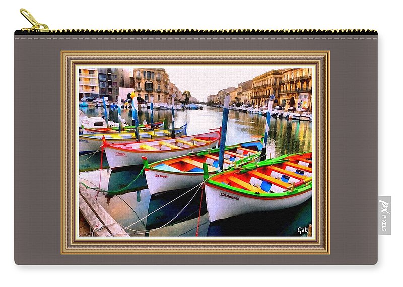Catholic Carry-all Pouch featuring the digital art Canal Boats On A Canal In Venice L A S With Decorative Ornate Printed Frame. by Gert J Rheeders
