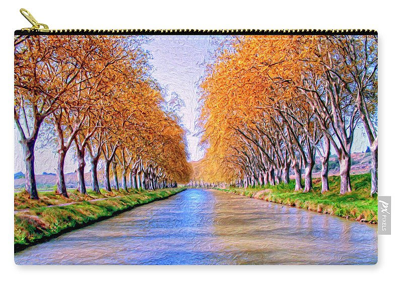 Canal Carry-all Pouch featuring the painting Canal Du Midi by Dominic Piperata