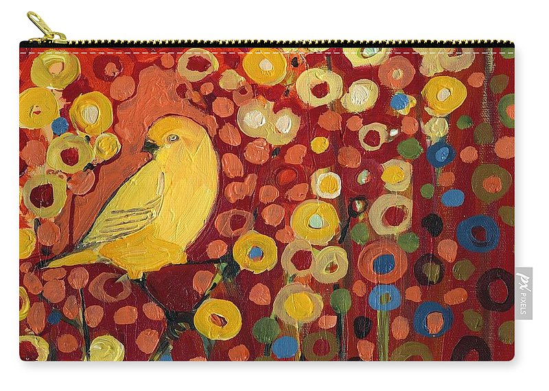 Canary Carry-all Pouch featuring the painting Canary in Red by Jennifer Lommers