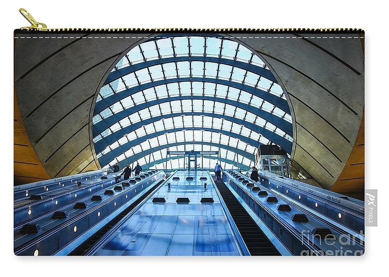Popular Famous Glass Roof Britain British England English Uk Europe European Infrastructure Journey Traveling Tourists Tourism Transport Transportation Commuters Commuting Entrance Capital Urban Destination Metro Visitors Attraction Iconic People Public Building Architecture Modern Canary Wharf Financial Business District London Underground Tube Subway Station Travel City Carry-all Pouch featuring the photograph Canary Wharf Station by Marcin Rogozinski