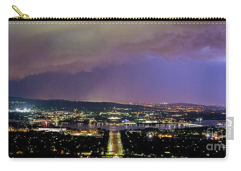 Canberra Carry-all Pouch featuring the photograph Canberra Stormy Night by Angela DeFrias