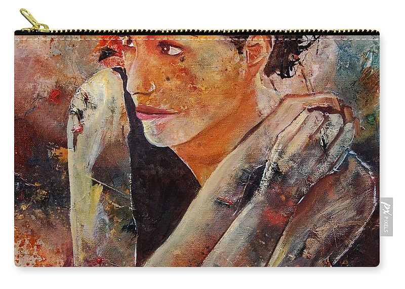 Figurative Carry-all Pouch featuring the painting Candid Eyes by Pol Ledent