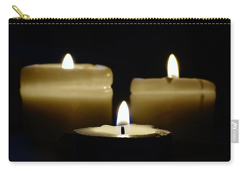 Candles Carry-all Pouch featuring the photograph Candle Trio by Leah Stark