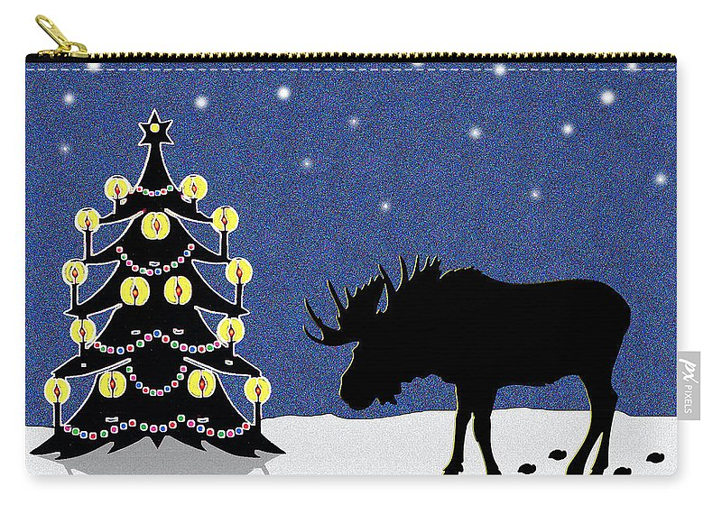 Moose Carry-all Pouch featuring the digital art Candlelit Christmas Tree And Moose In The Snow by Nancy Mueller