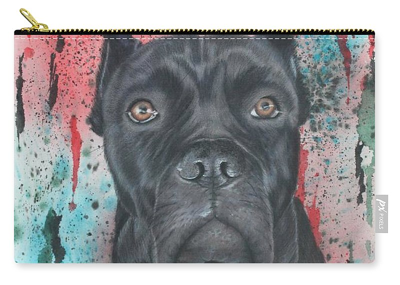 Dog Carry-all Pouch featuring the drawing Cane Corso by Kathleen Smith