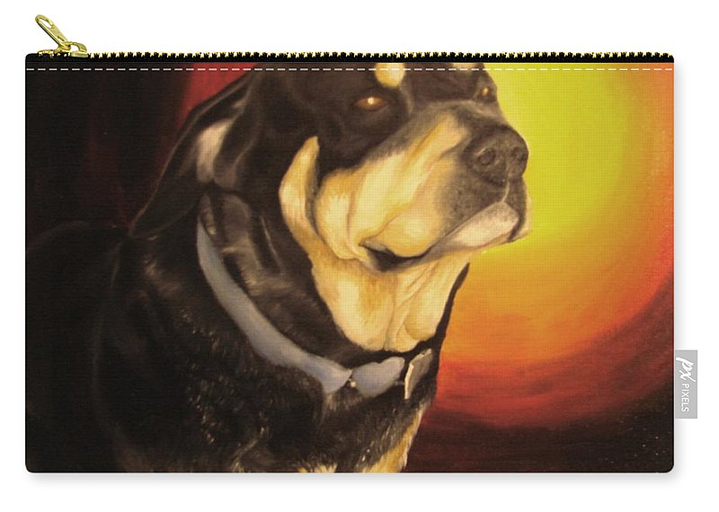 Paintings Carry-all Pouch featuring the painting Canine Vision by Glory Fraulein Wolfe