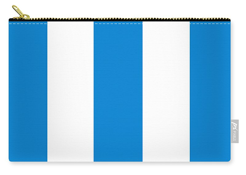 Blue Carry-all Pouch featuring the digital art Cannes Stripes, Blue by Elegant and Coastal