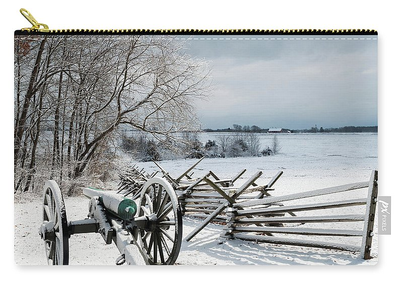 Artillery Carry-all Pouch featuring the photograph Cannon Under Snow by Kat Zalewski-Bednarek