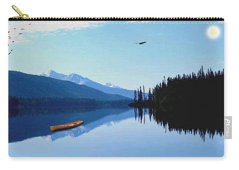 Lake Carry-all Pouch featuring the digital art Canoe Lake by Teresa Peterson